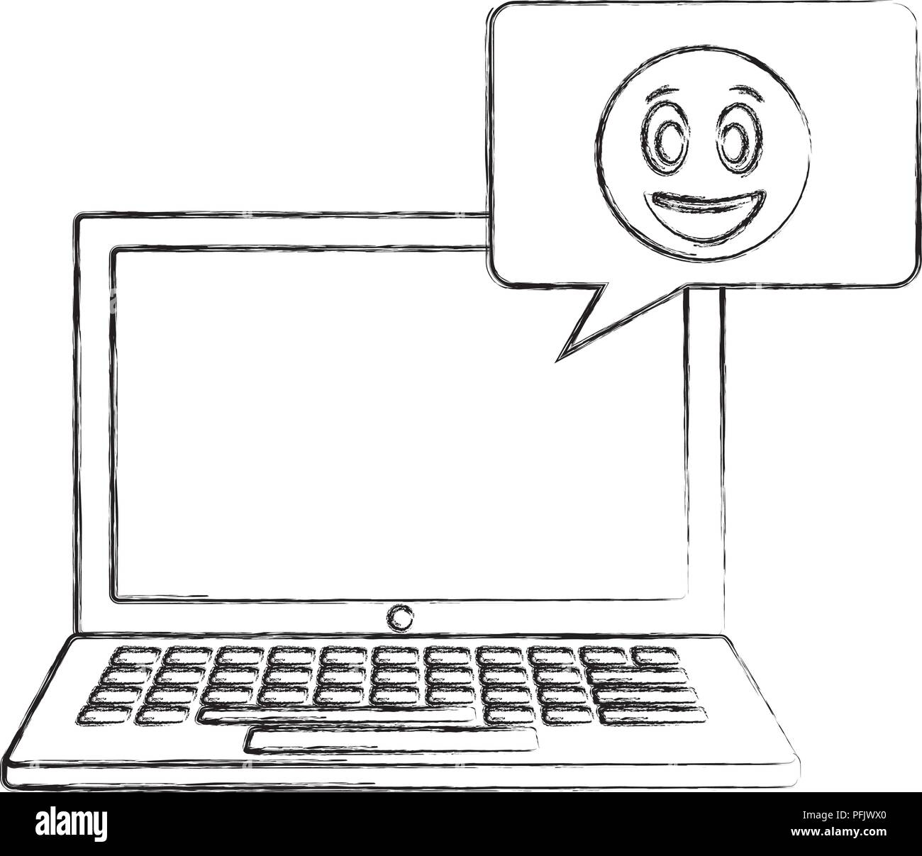 laptop computer emoji speech bubble chat hand drawing Stock Vector