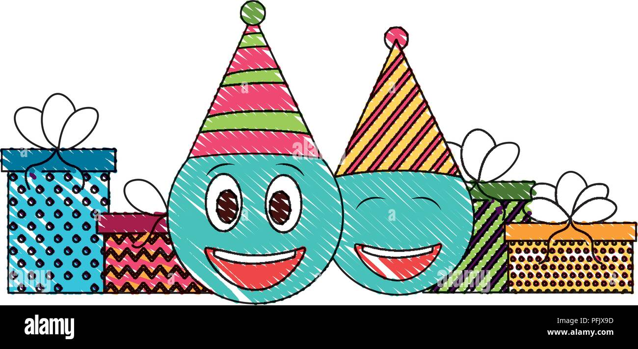 Birthday Emoji Face With Party Hat And Gifts Drawing Color