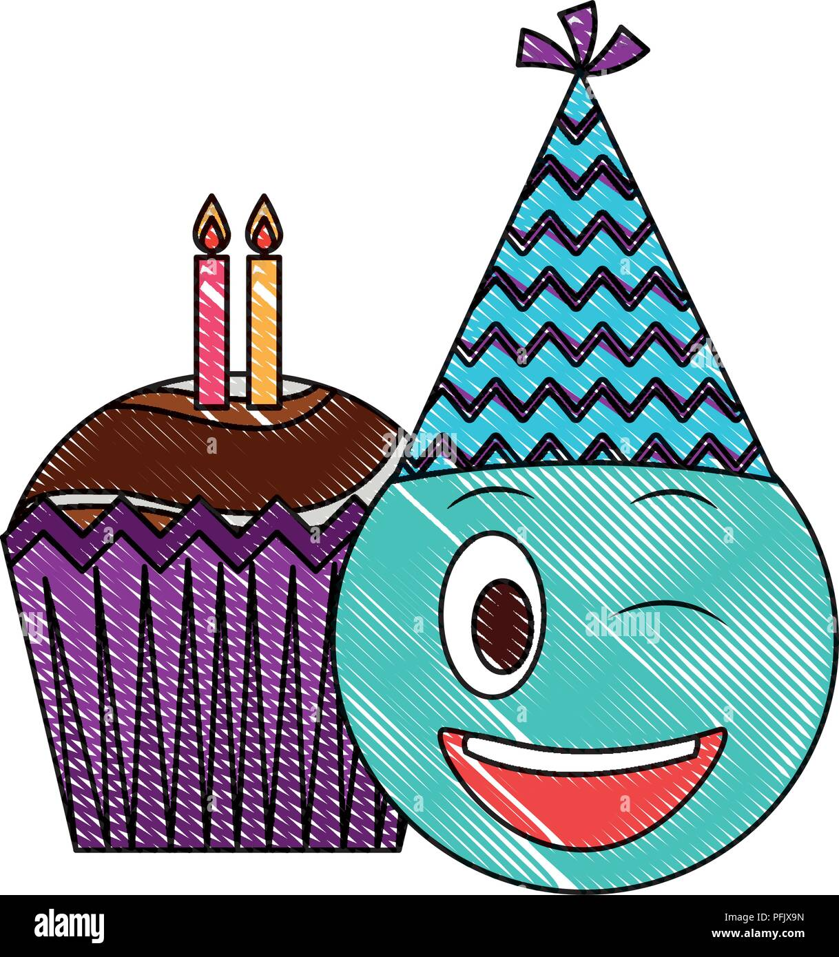 Birthday Emoji With Party Hat And Cupcakes Candles Drawing Color