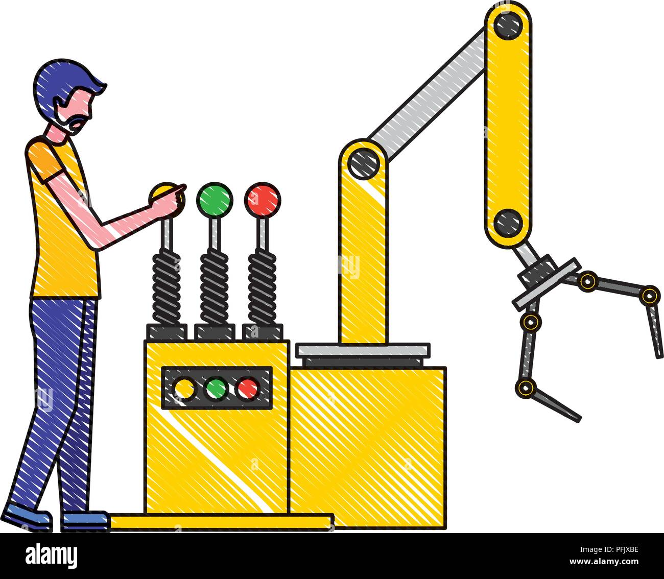 operator working with the robotic arm industrial factory Stock