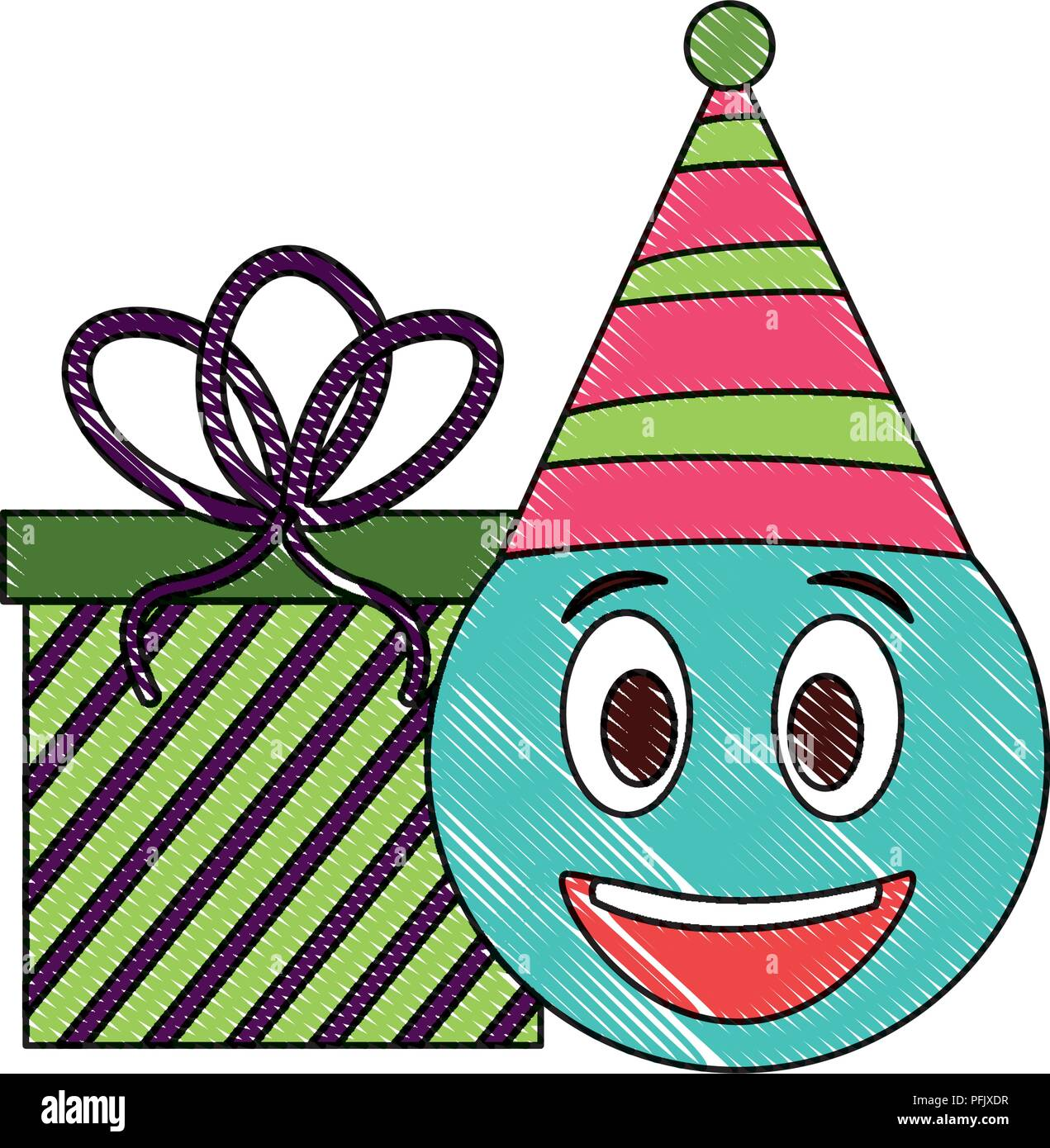 Birthday Emoji Face With Party Hat And Gift Drawing Color Stock