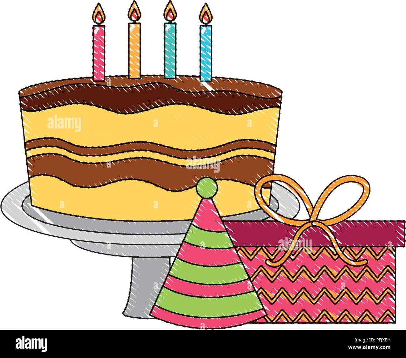 birthday cake with candles and gift party hat celebration