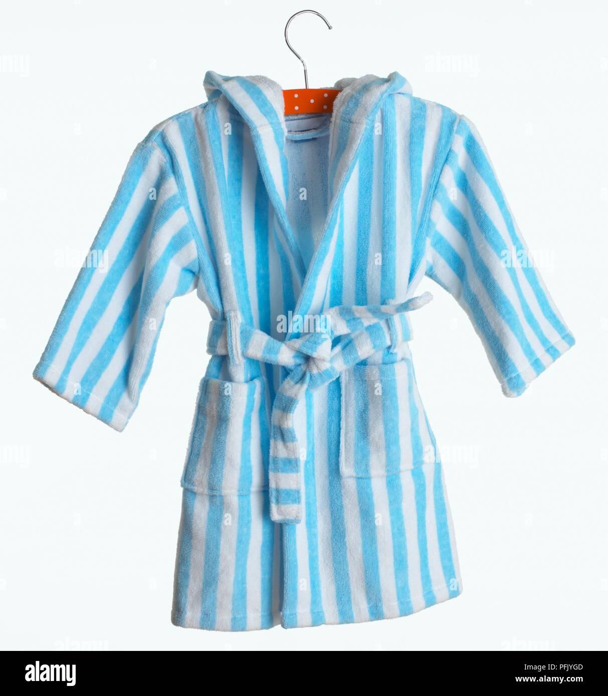 Blue And White Striped Child S Bathrobe On Hanger Stock Photo Alamy