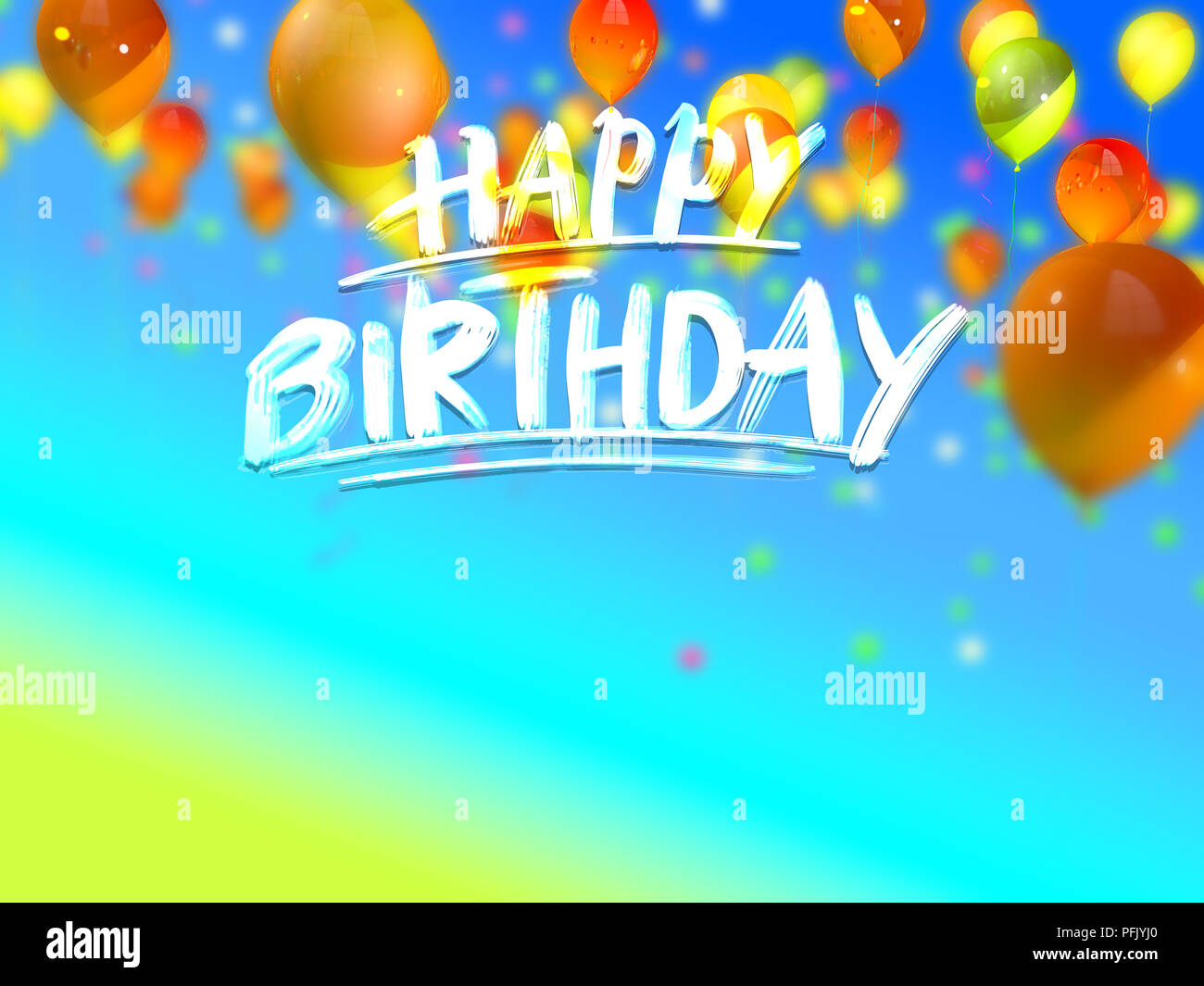 Happy Birthday Greeting Card Hand Drawn Lettering On 3d Background