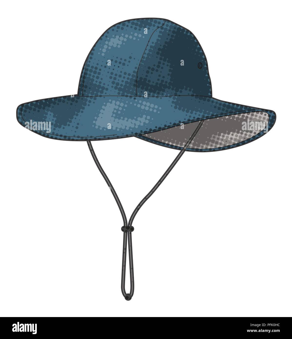 Digital illustration of blue rain hat with wide brim and drawstring ... 84fc74ff7210