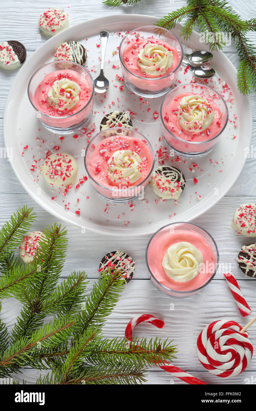 no bake Cheesecake Mousse topped with whipped cream, sprinkled with ...