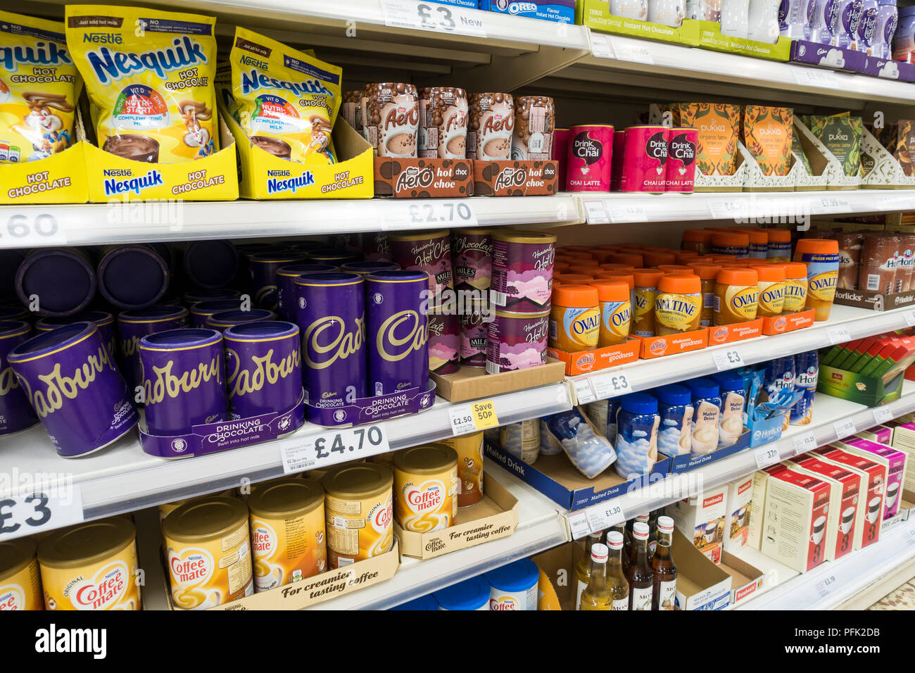 Jars Packets Of Hot Chocolate On Display For Sale In A