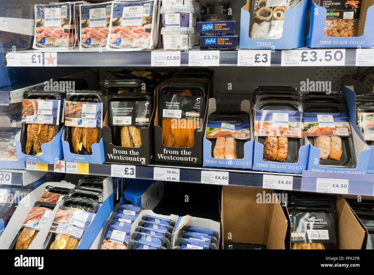 Oily fish in plastic packaging for sale in a Tesco supermarket, United Kingdom - Stock Image