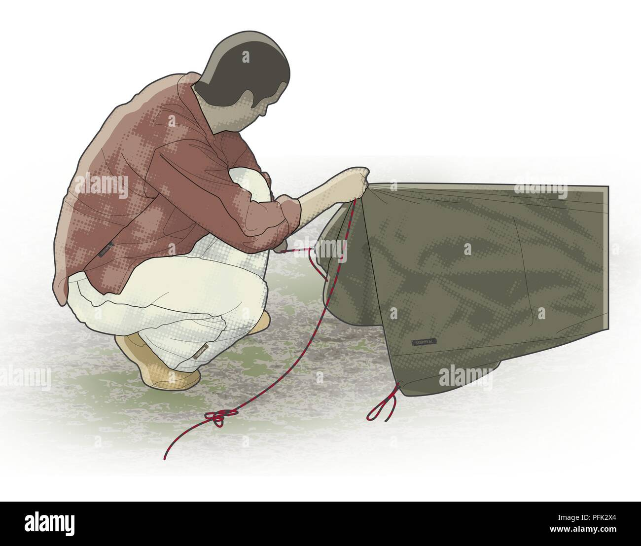Digital illustration of man holding up rope tied to bivi pup tent - Stock Image