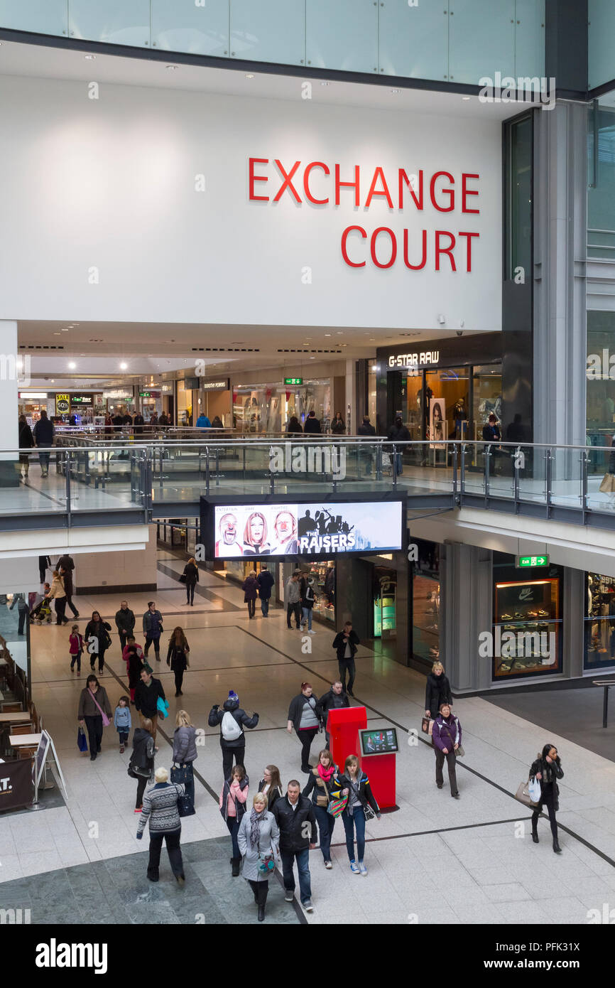 Inside the Manchester Arndale Shopping Centre in Manchester, England. - Stock Image