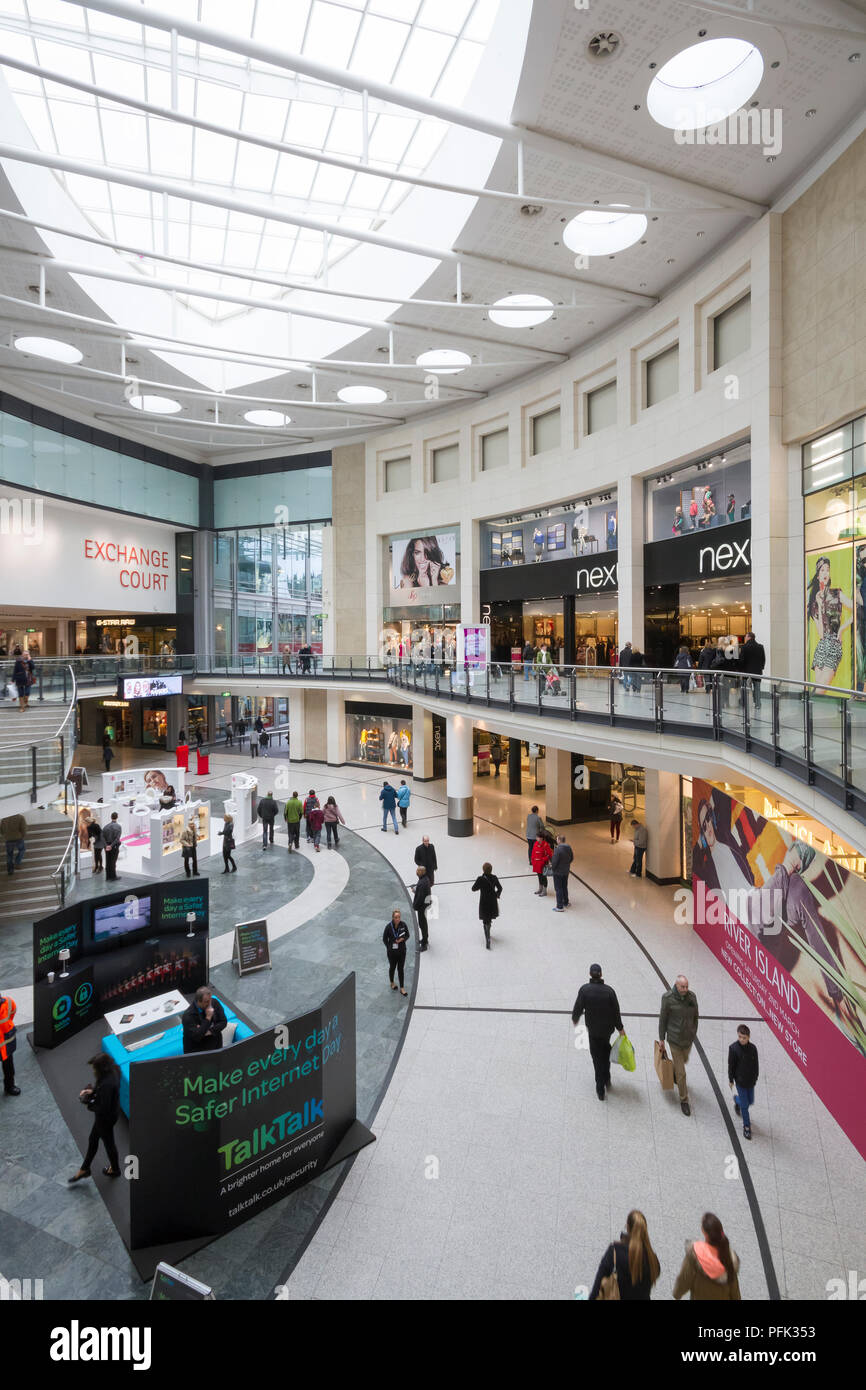 Inside the Manchester Arndale Shopping Centre in Manchester, England. Stock Photo
