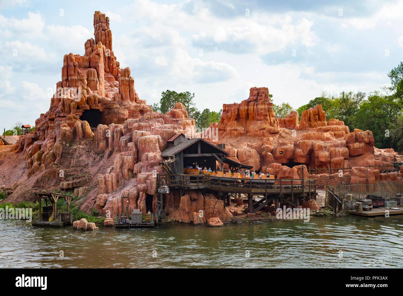 Big Thunder Mountain Railroad ride in Magic Kindgom, Walt Disney World, Orlando, Florida. - Stock Image
