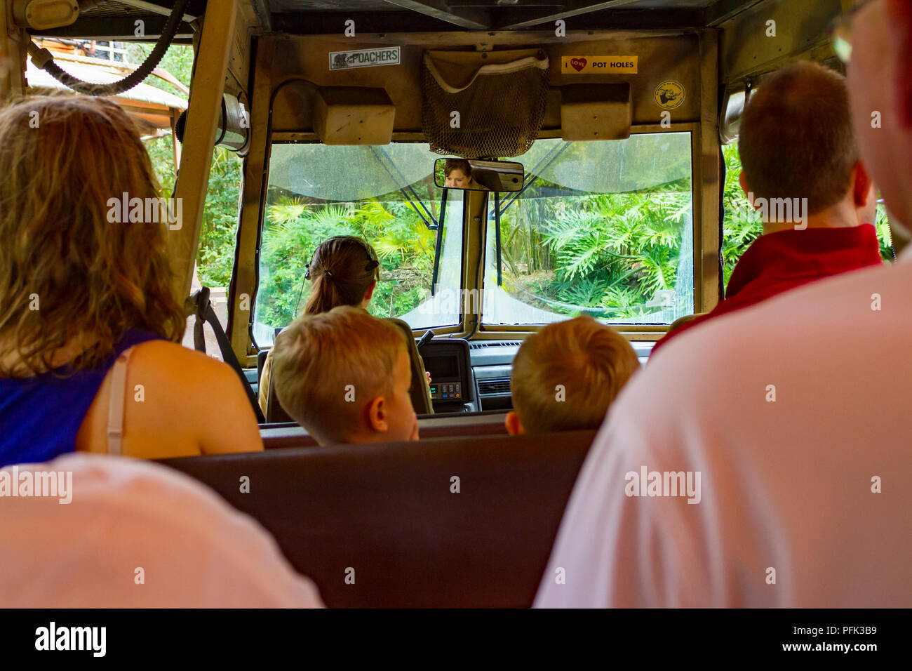Kilimanjaro Safari ride in Disneys Animal Kingdom Theme Park, Walt Disney World, Orlando, Florida. - Stock Image