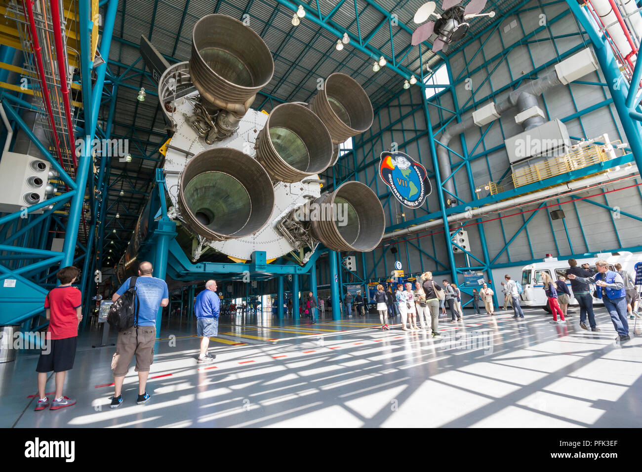 Saturn V Moon Rocket Engines at Kennedy Space Center, Florida. - Stock Image