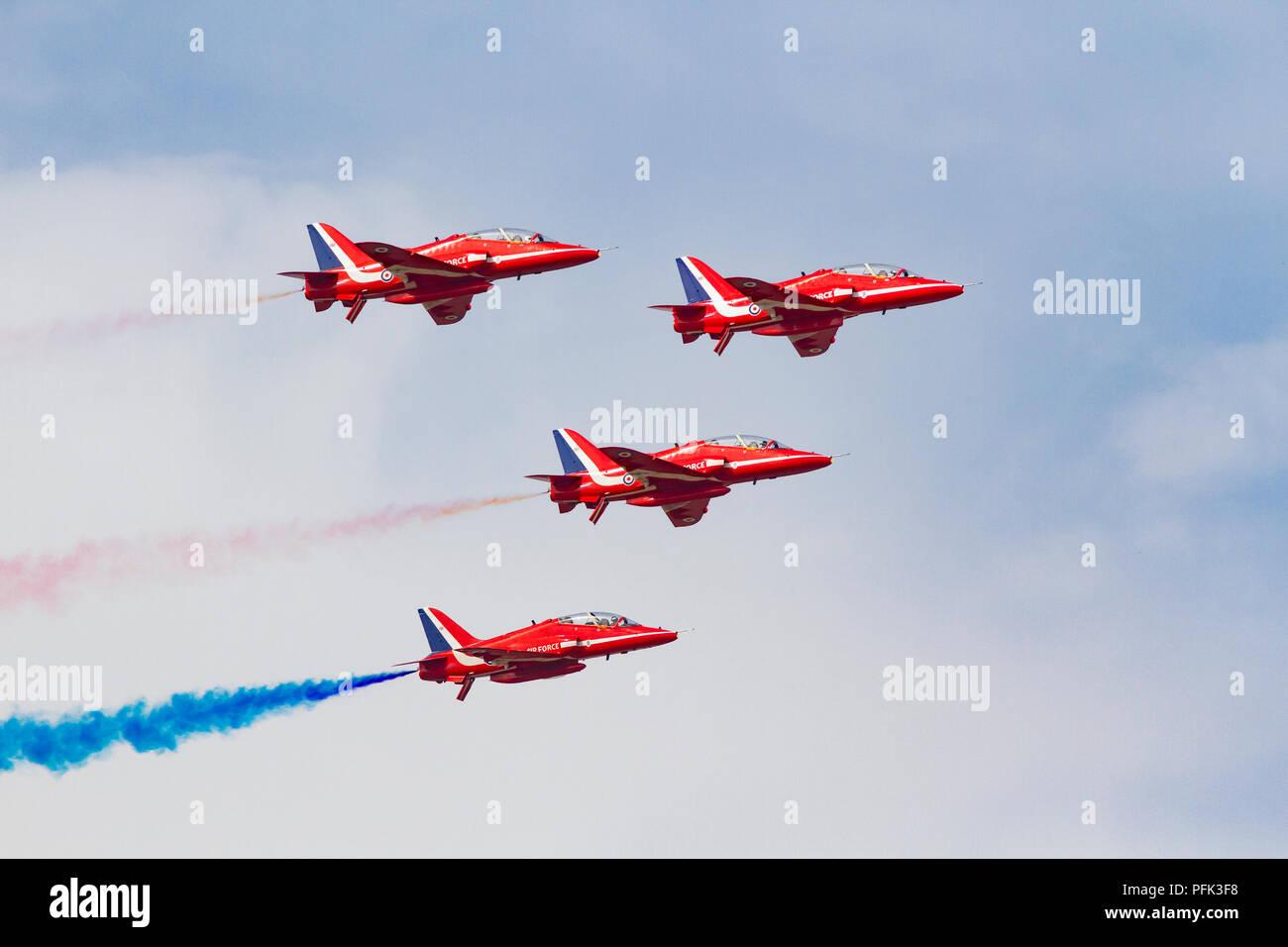 Royal Air Force Red Arrows aerobatic display team performing at Blackpool Air Show - Stock Image