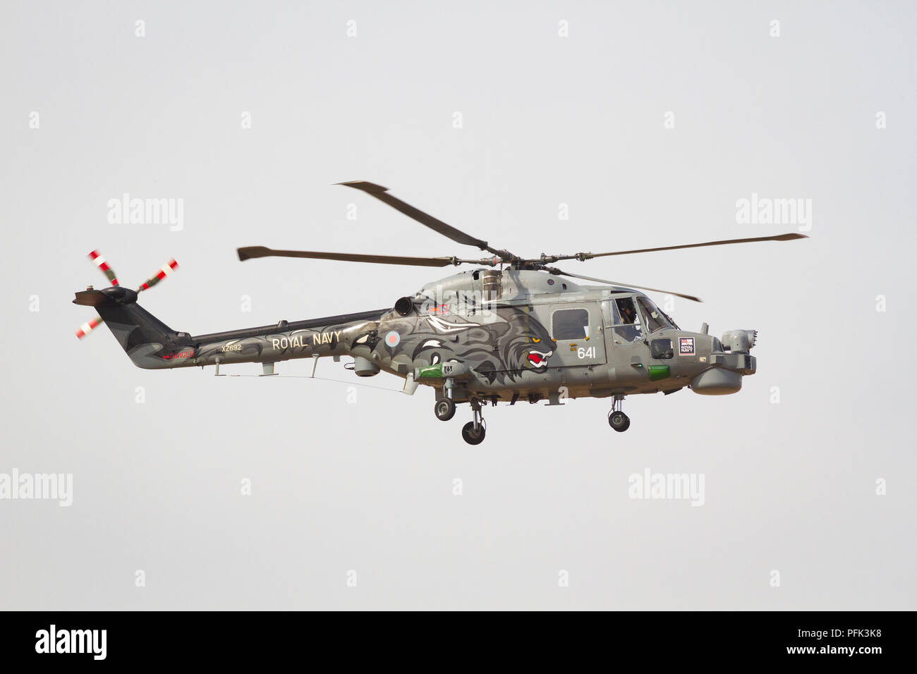 Royal Navy Westland Lynx Helicopter at Southport Air Show - Stock Image
