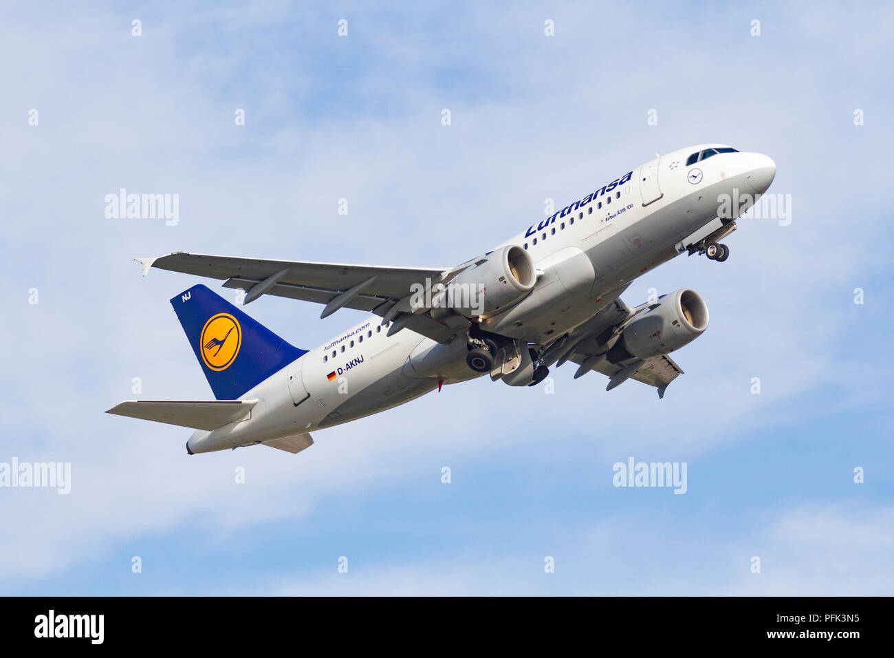 Lufthansa D-AKNJ Airbus A319-112 taking off from Manchester Airport - Stock Image