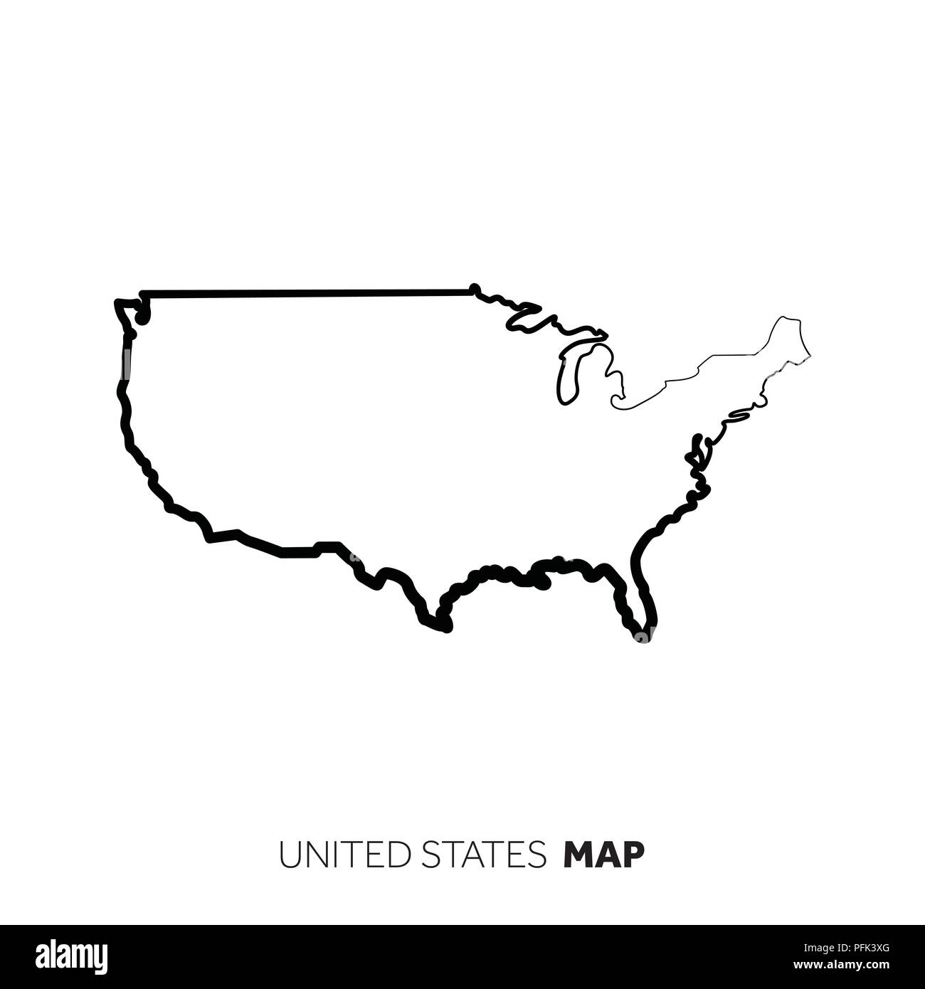 USA vector country map outline. Black line on white background Stock ...