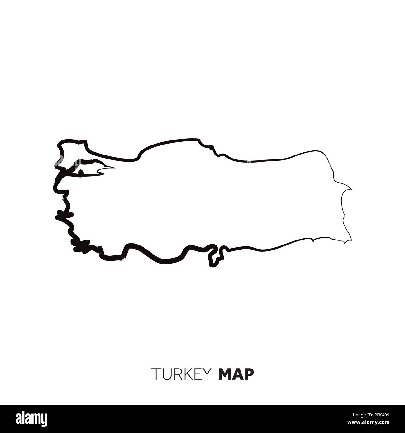 Turkey vector country map outline. Black line on white background ...