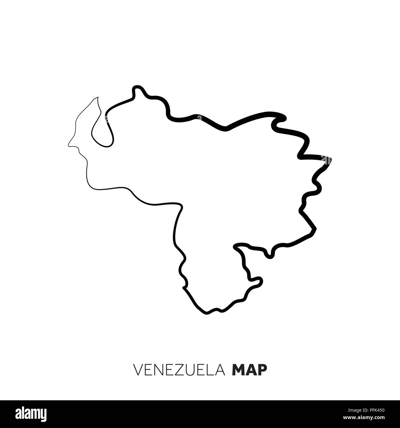 Venezuela Vector Country Map Outline Black Line On White Background