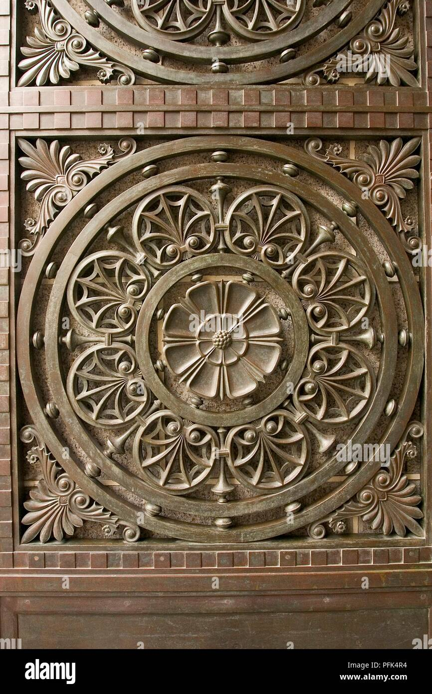 China, Shanghai, The Bund, decorative feature on colonial-era building, detail - Stock Image