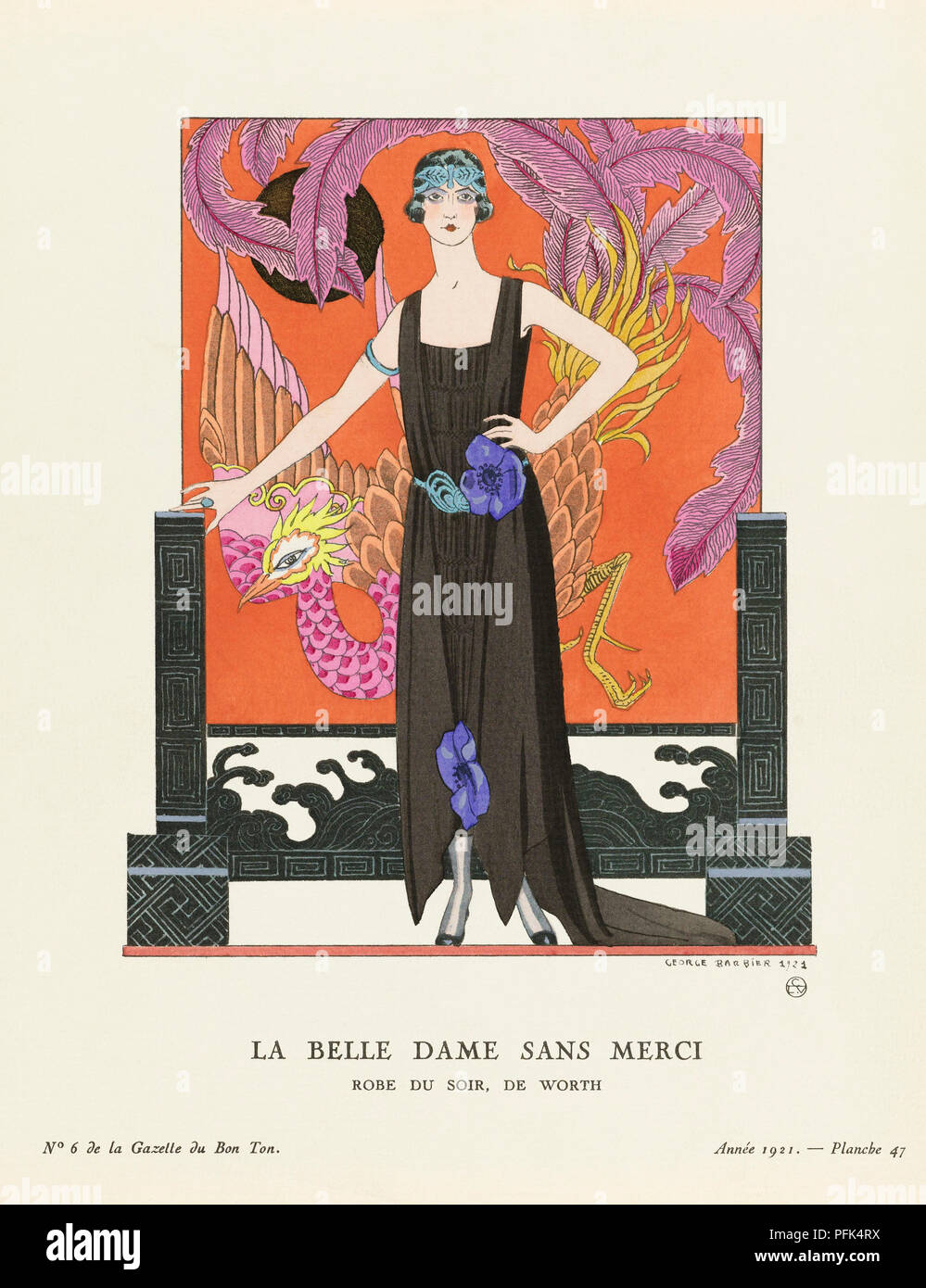 La Belle Dame Sans Merci.  A Beautiful, Merciless Woman. Robe du Soir, de Worth.  Evening dress by Worth.  Art-deco fashion illustration by French artist George Barbier, 1882-1932.  The work was created for the Gazette du Bon Ton, a Parisian fashion magazine published between 1912-1915 and 1919-1925. - Stock Image