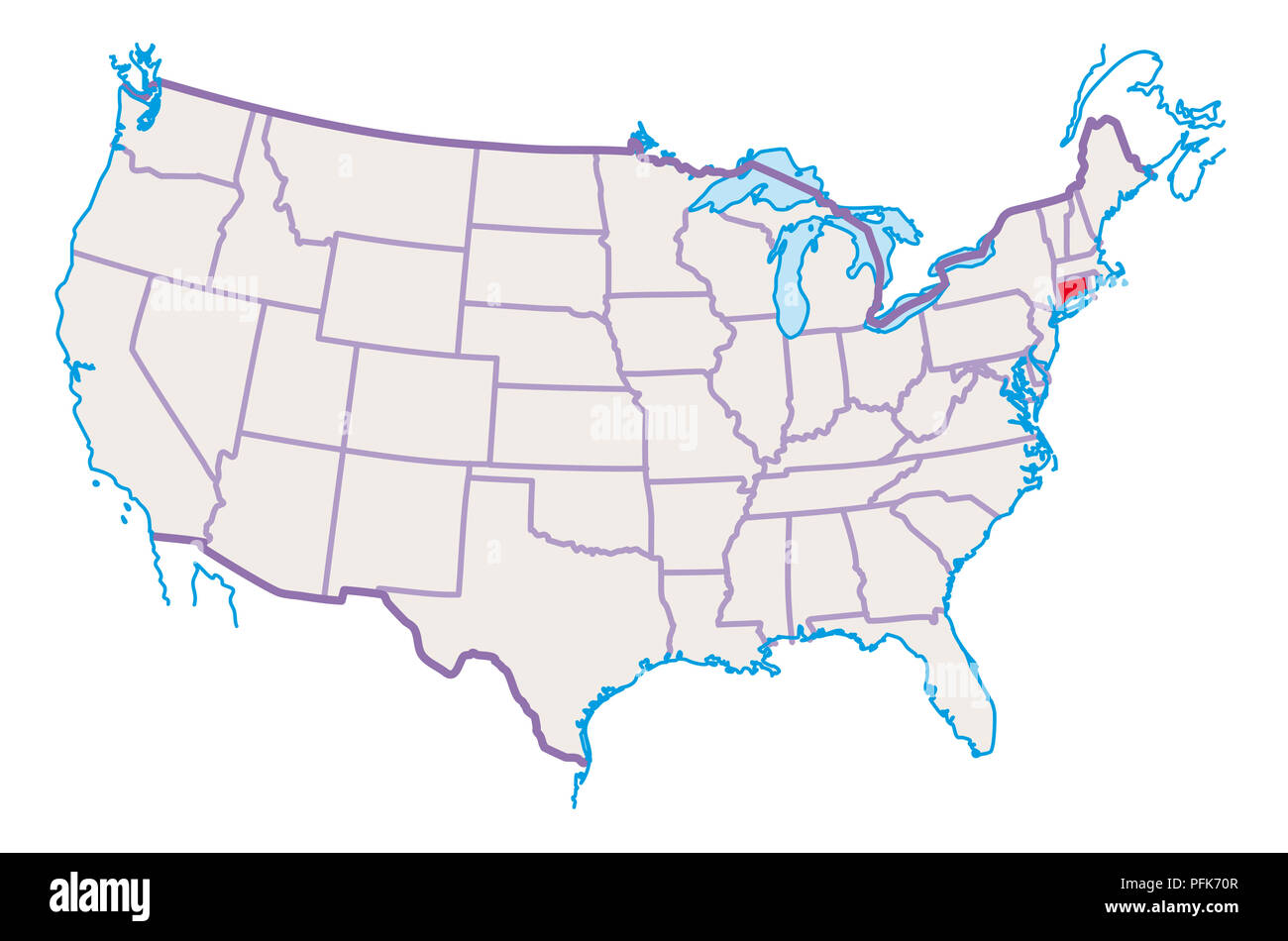 Map of USA, Connecticut highlighted in red Stock Photo: 216166855 ...
