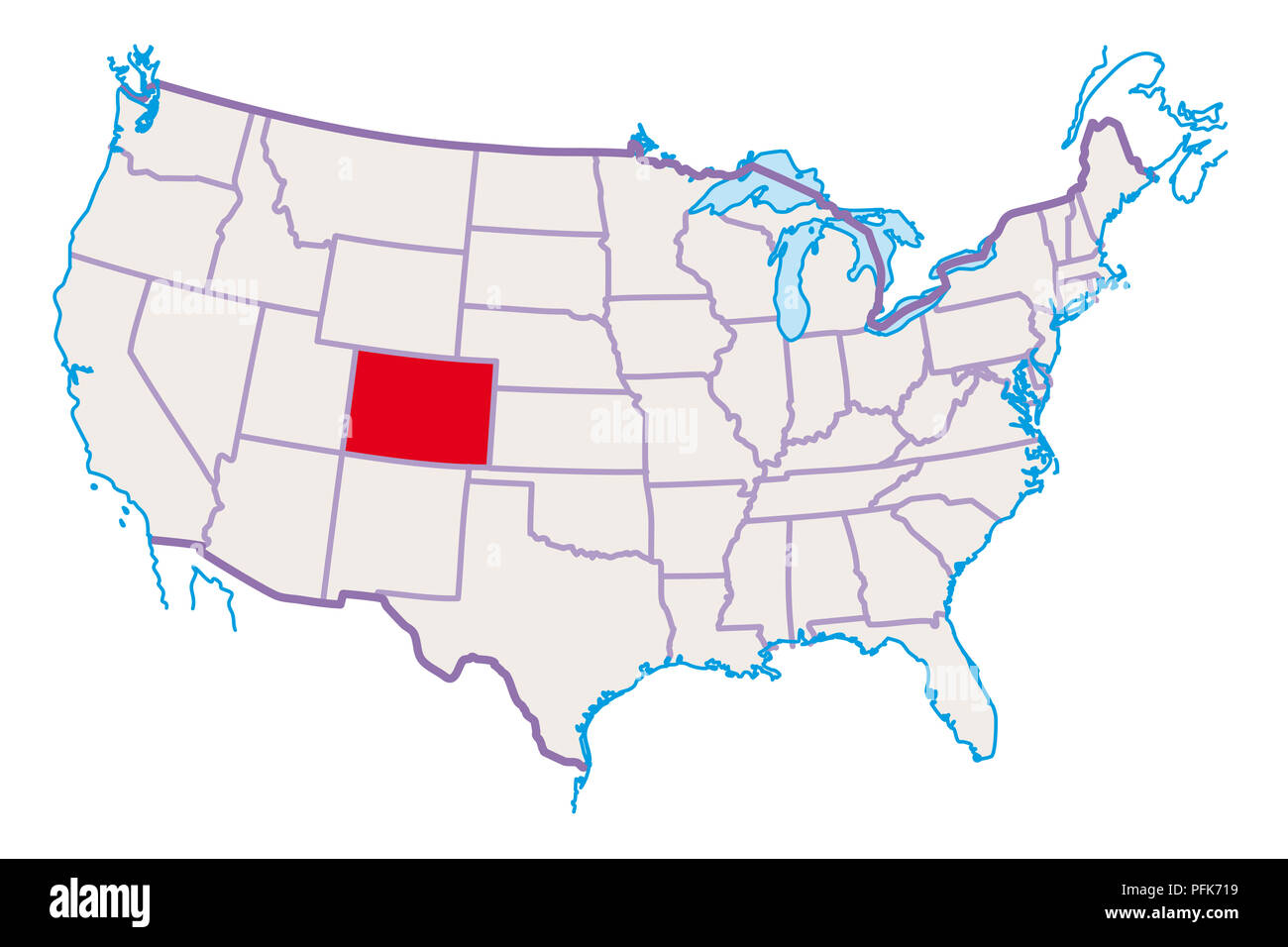 Map of USA, Colorado highlighted in red Stock Photo ...