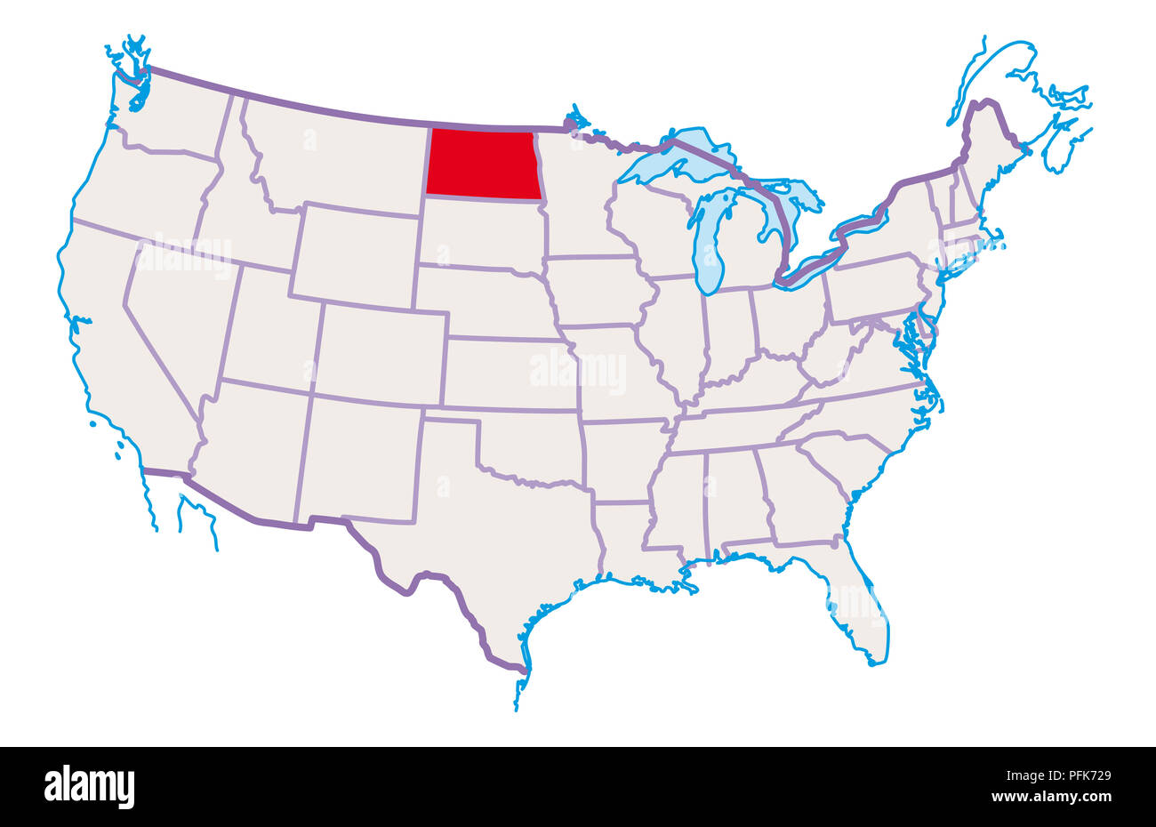 Map of USA, North Dakota highlighted in red Stock Photo: 216166897 ...