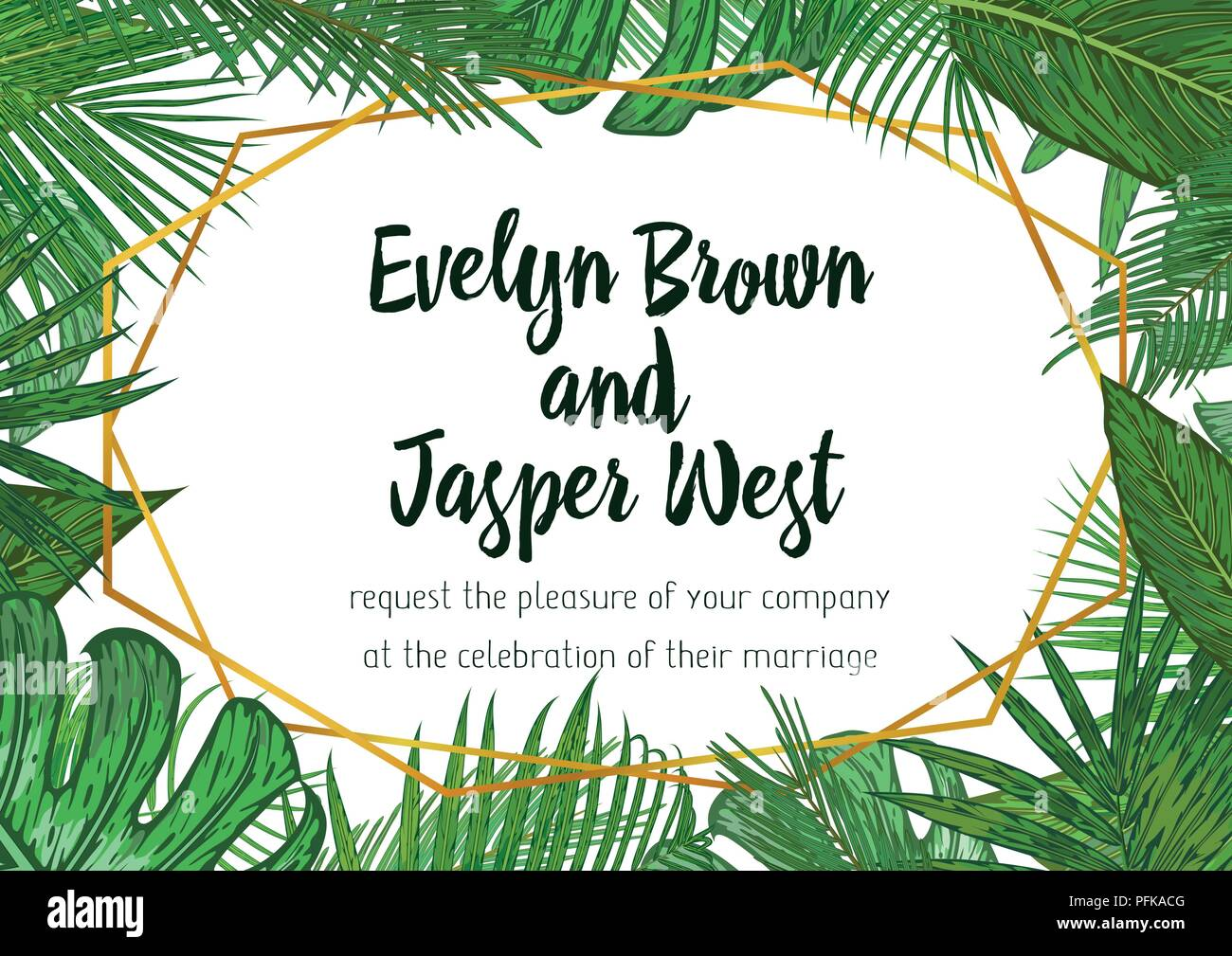 Wedding Invitation Floral Invite Card Design With Green Tropical