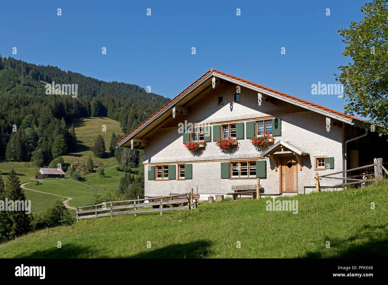 farm house at Hochgrat near Steibis, Allgaeu, Bavaria, Germany - Stock Image