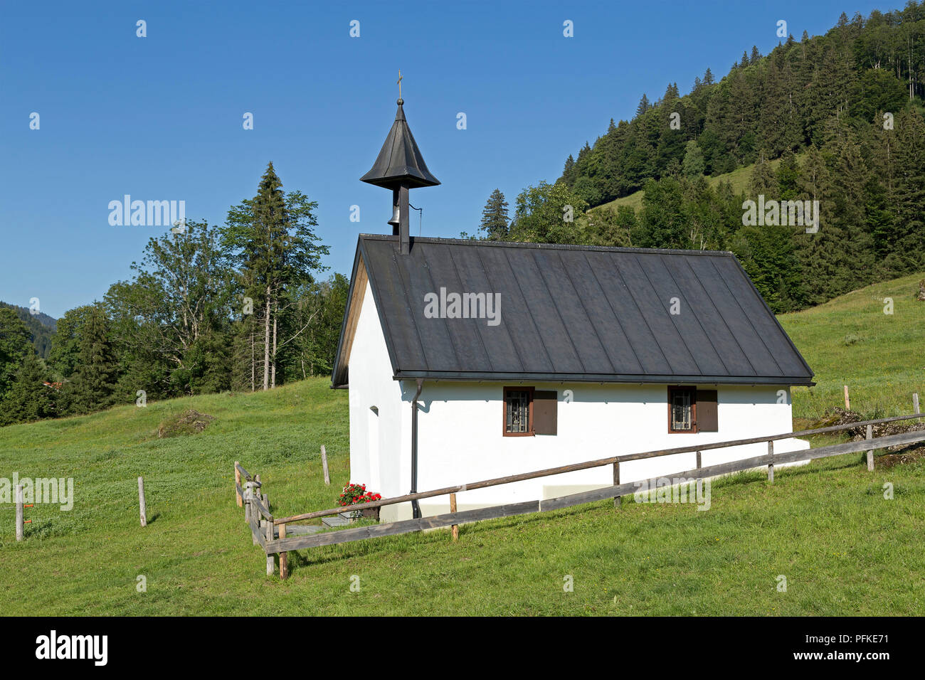 chapel below Hochgrat near Steibis, Allgaeu, Bavaria, Germany - Stock Image