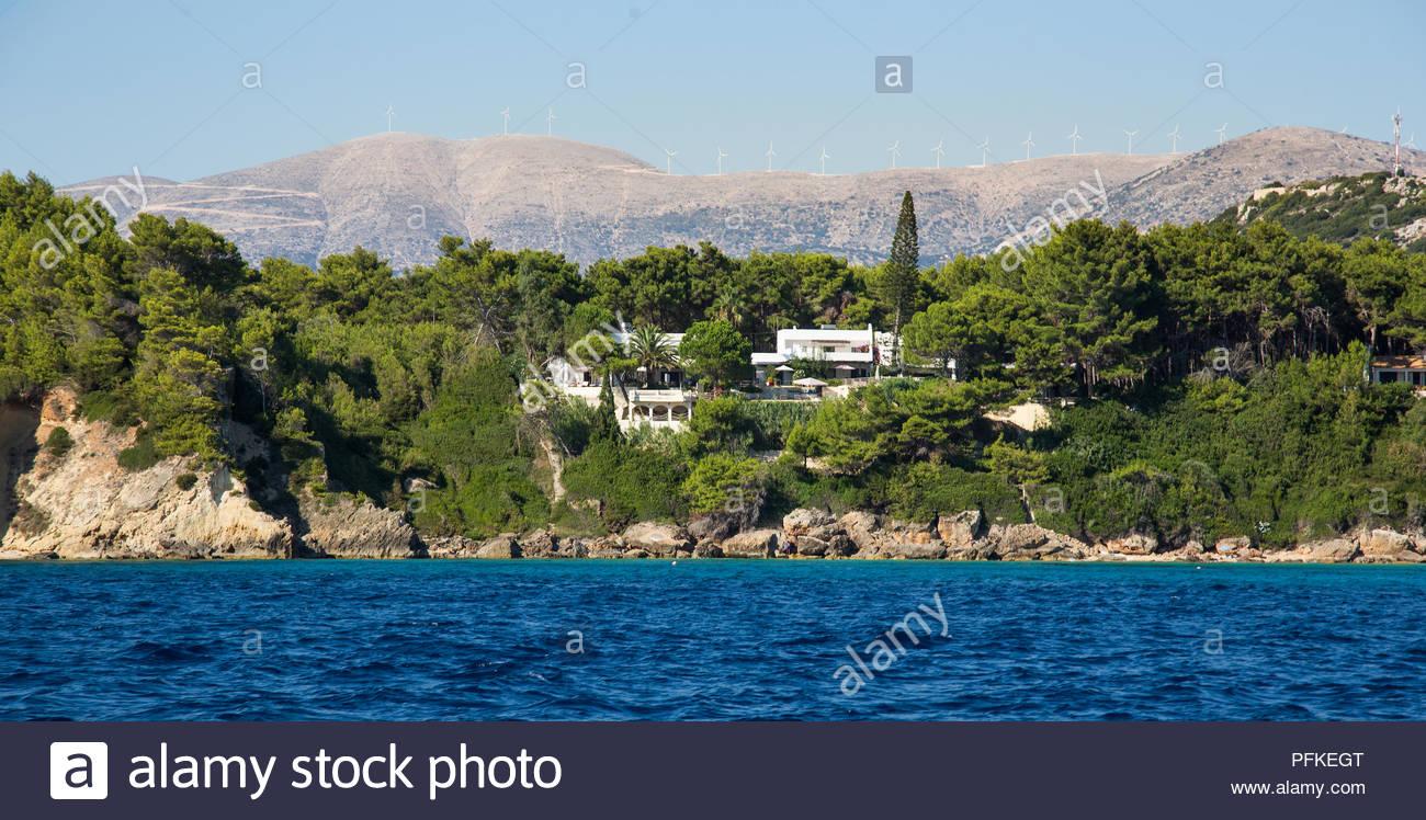 Flight over of Paradise beach at Corfu island in Greece