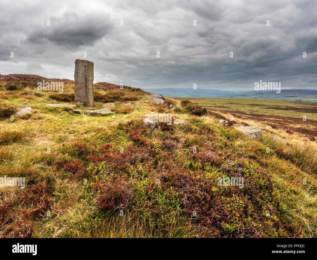 Lanshaw Lad boundary stone on Ilkley Moor West Yorkshire England - Stock Image