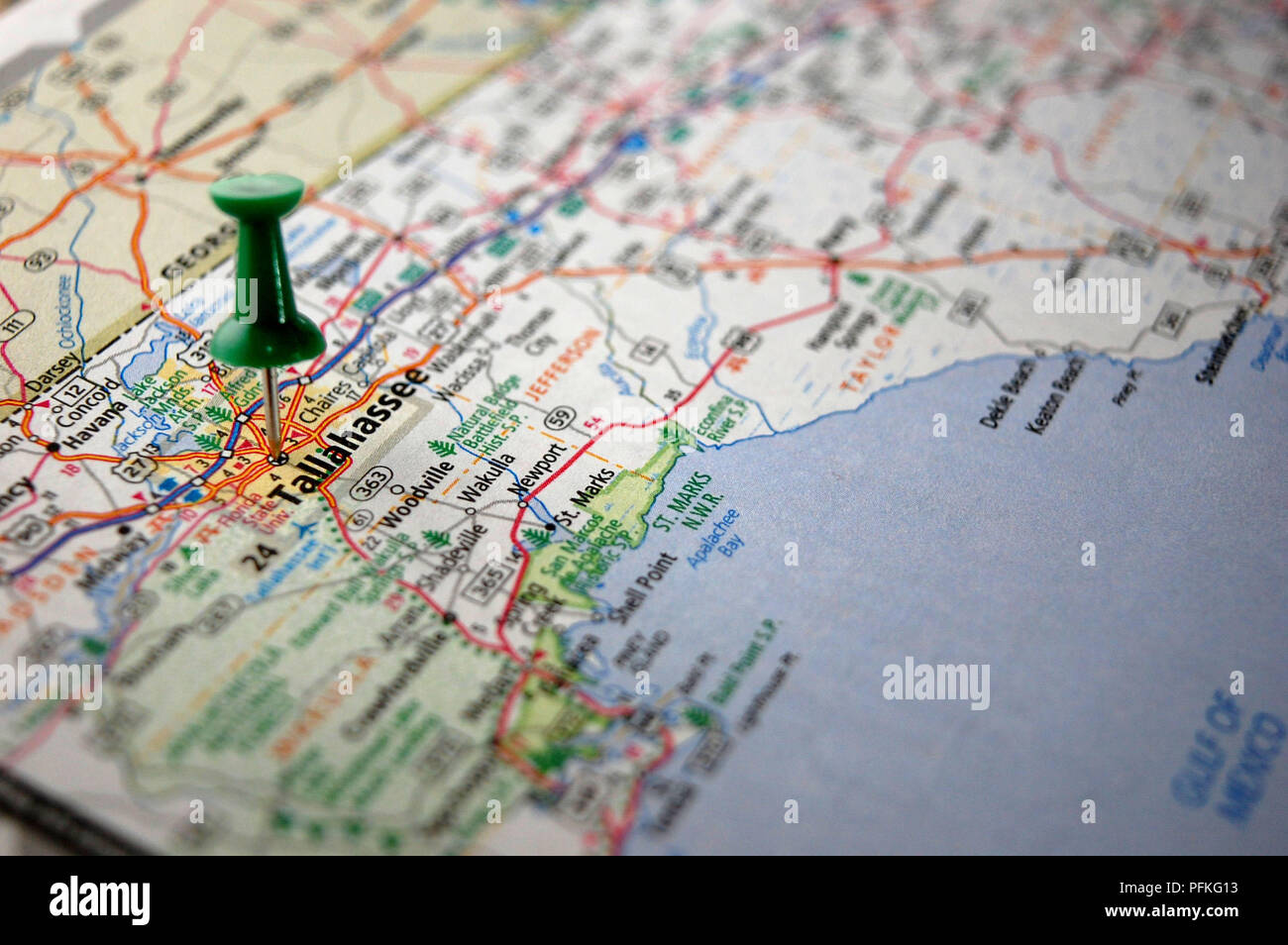 Map Of Tallahassee Florida.A Map Of Tallahassee Florida Marked With A Push Pin Stock Photo