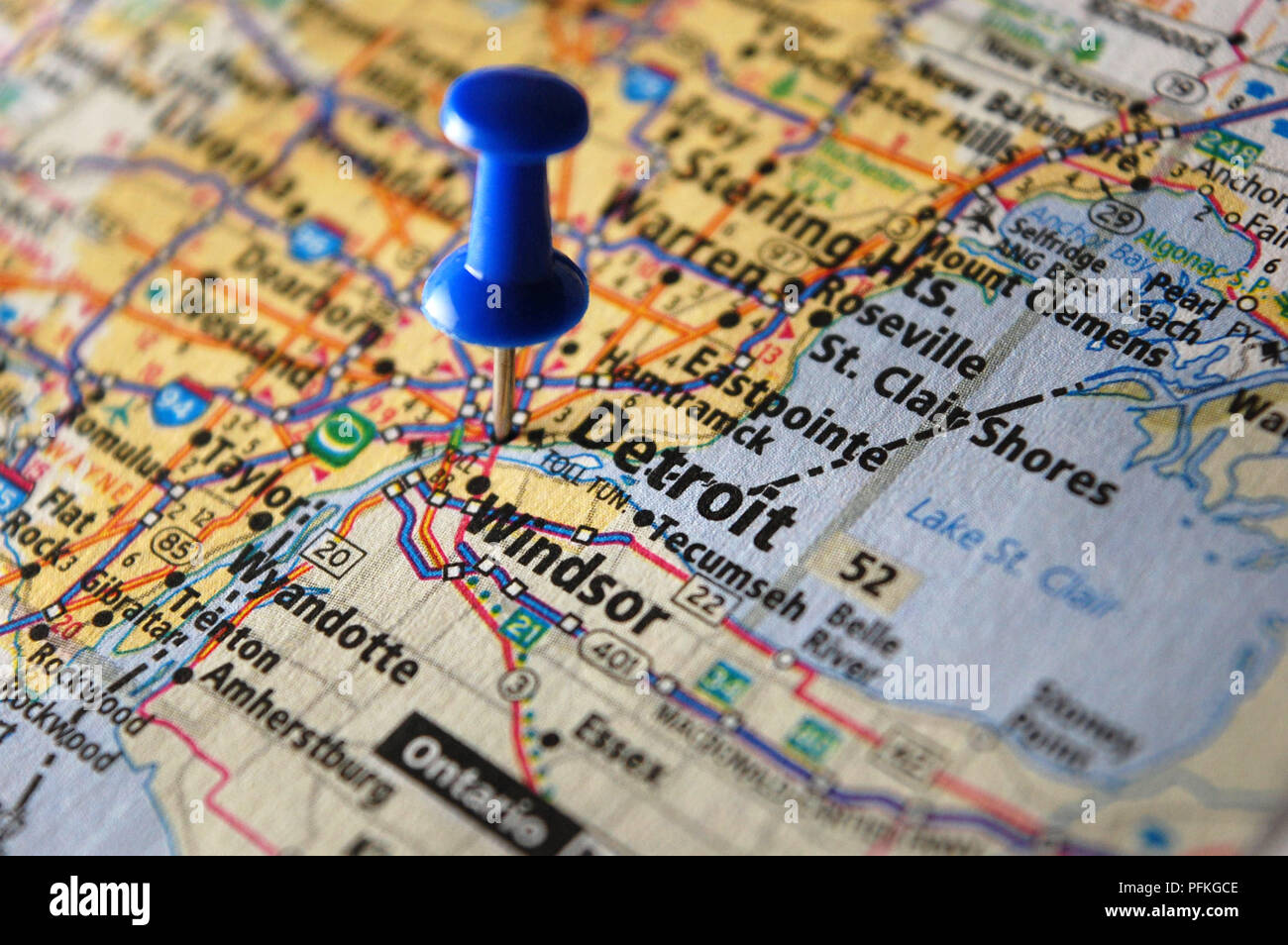 A map of Detroit, Michigan marked with a push pin Stock Photo ...
