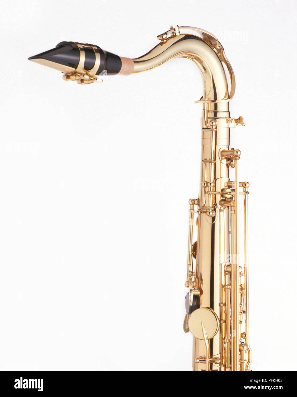Tenor saxophone, high section with mouthpiece, close-up - Stock Image