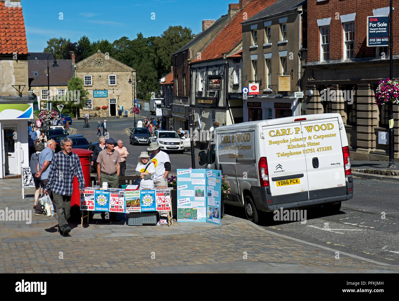 Anti-fracking protest, Pickering town,North Yorkshire, England UK - Stock Image