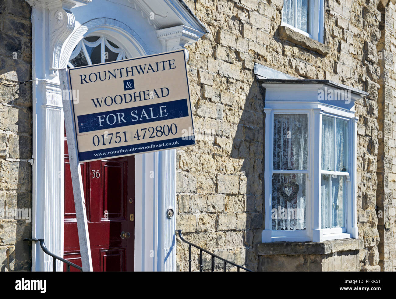 House for sale in Seamer village, North Yorkshire, England UK - Stock Image