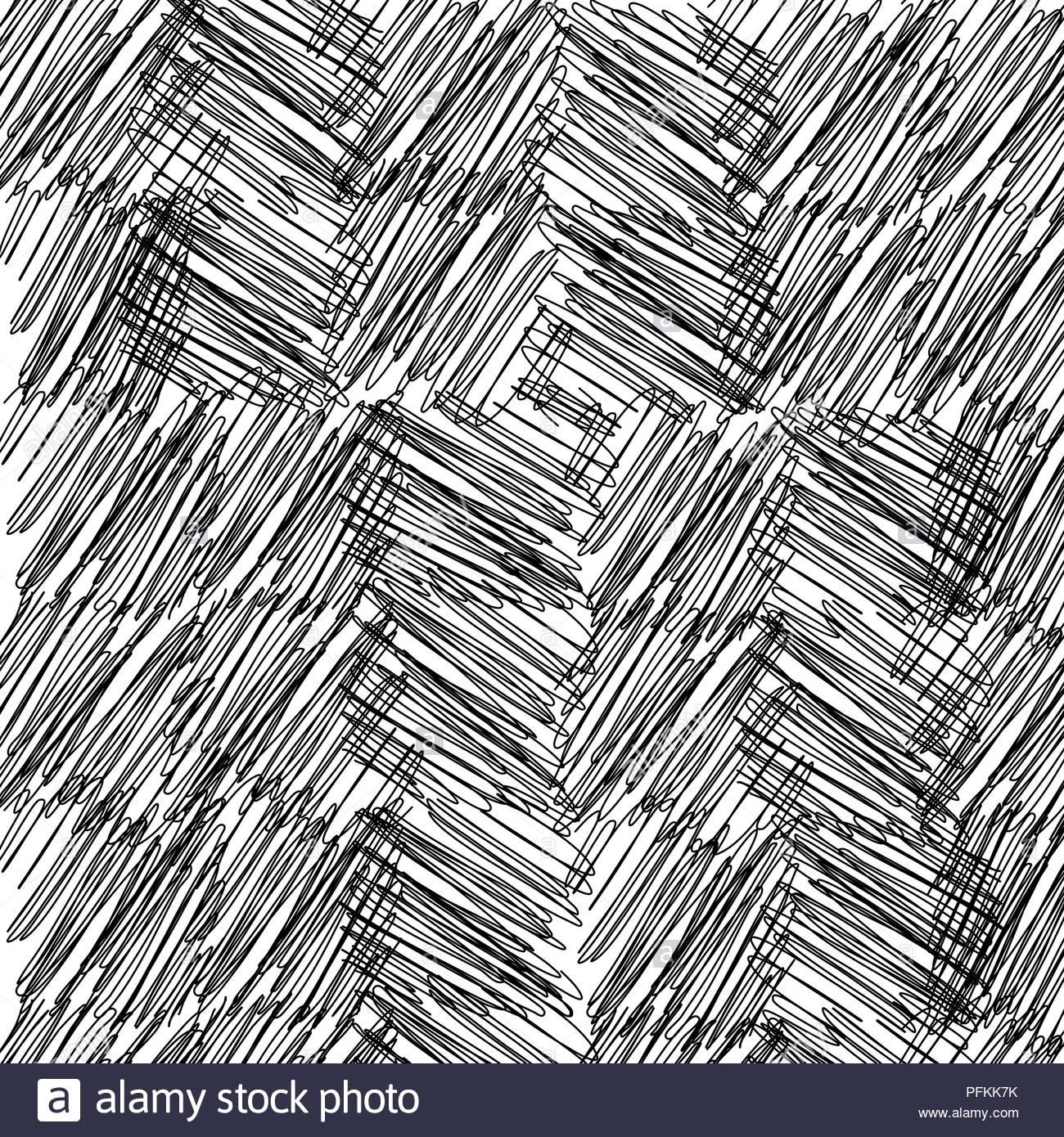 Black white scribble squares pattern - Stock Image