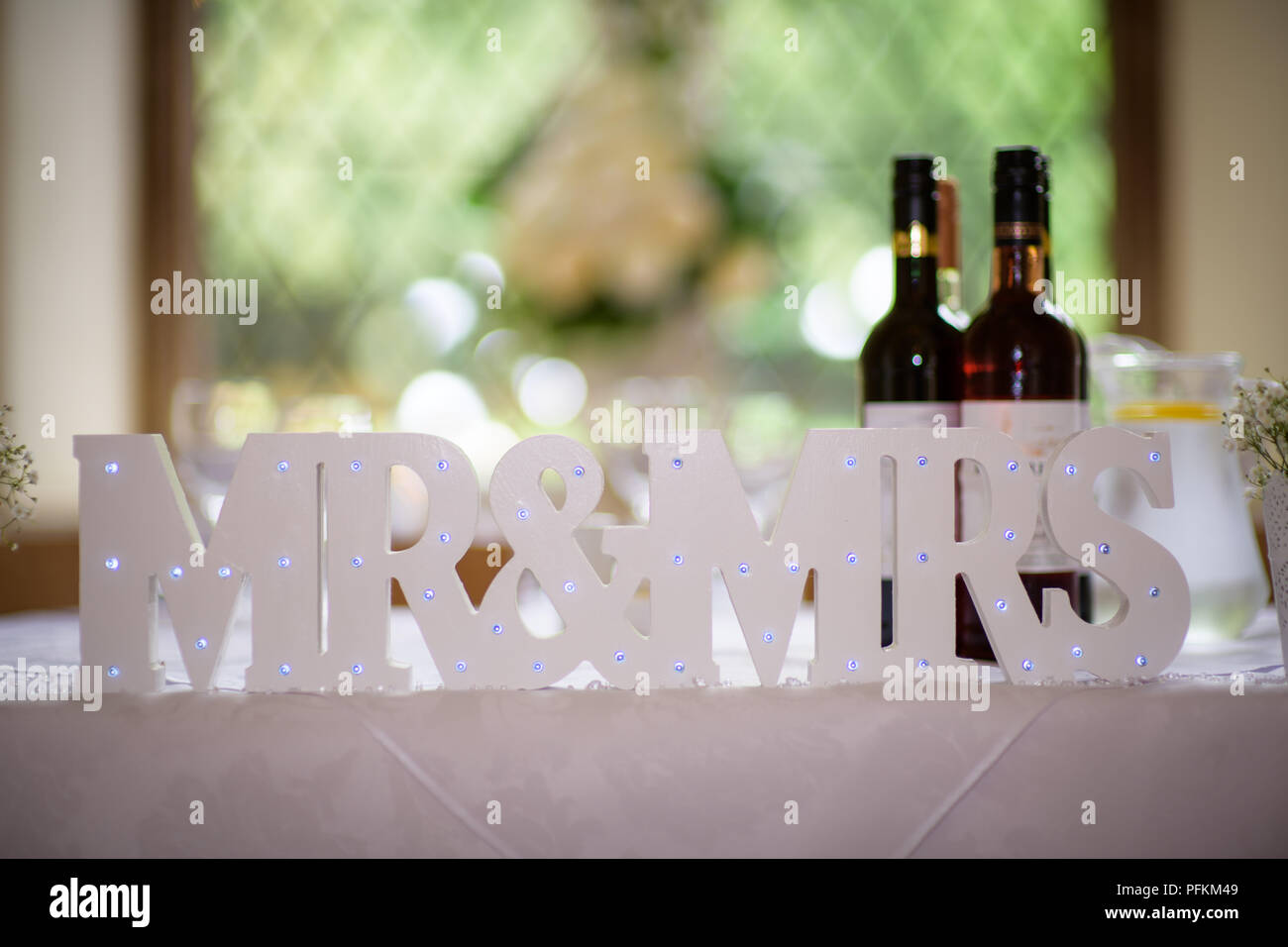 Wedding Mr And Mrs Table Decor from c8.alamy.com