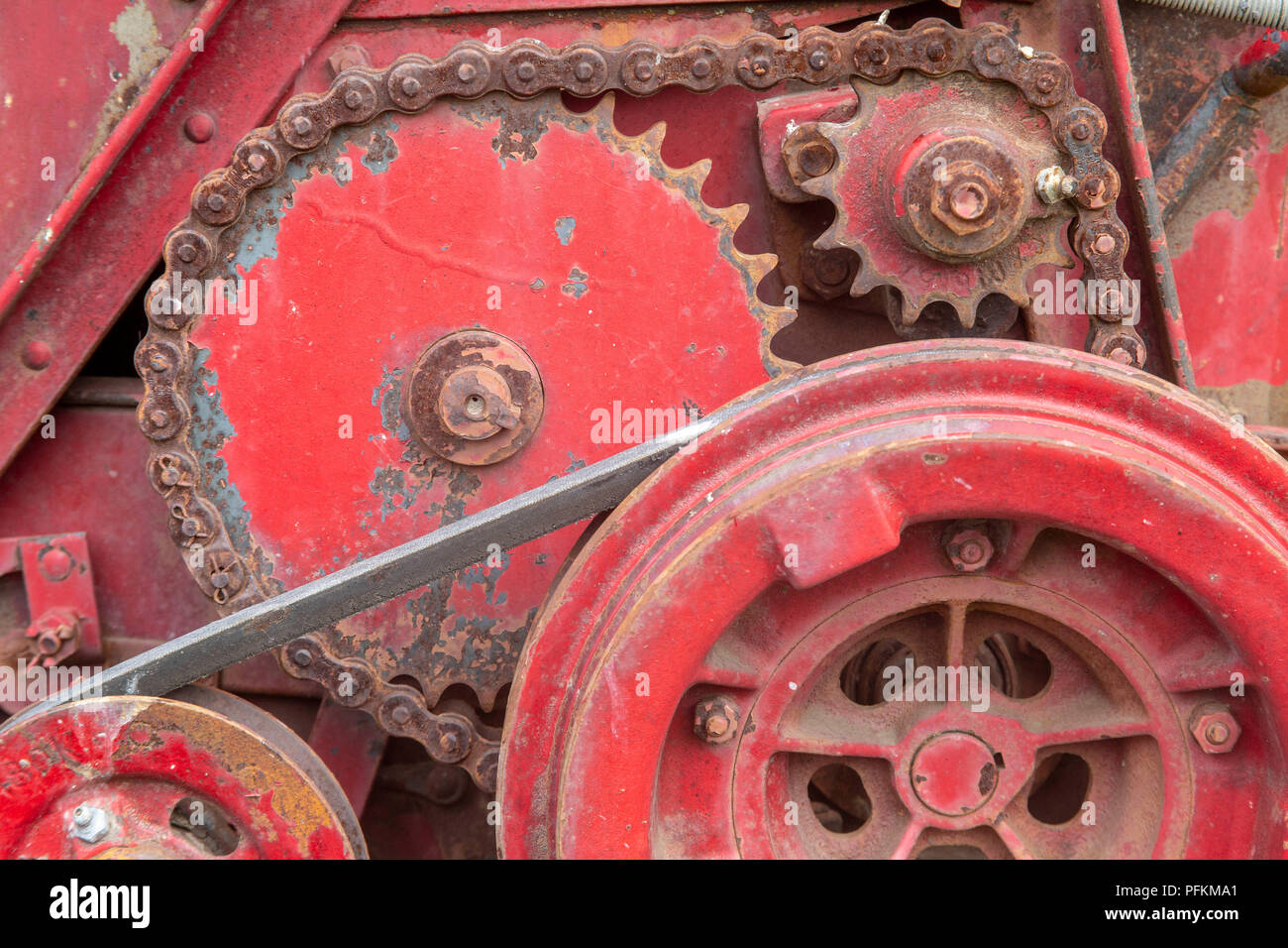 Tractor gears and belts - Stock Image