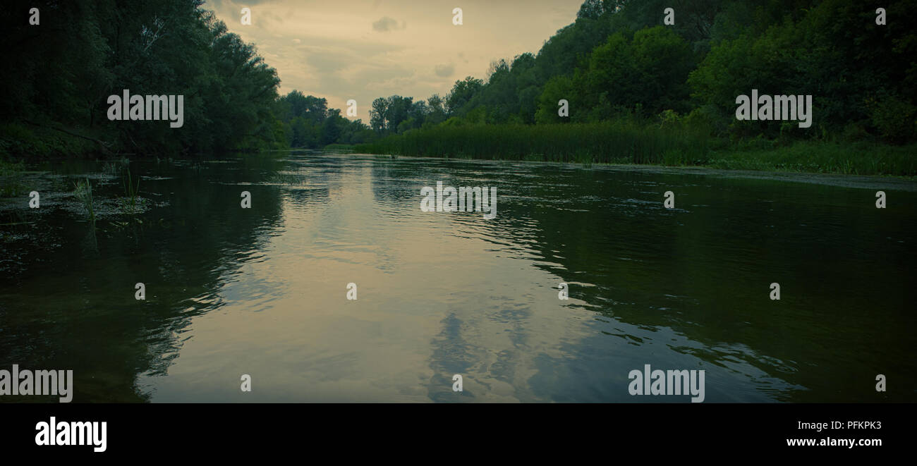 blurred background, river at sunset. Web banner. Element of design. Photo banner. - Stock Image