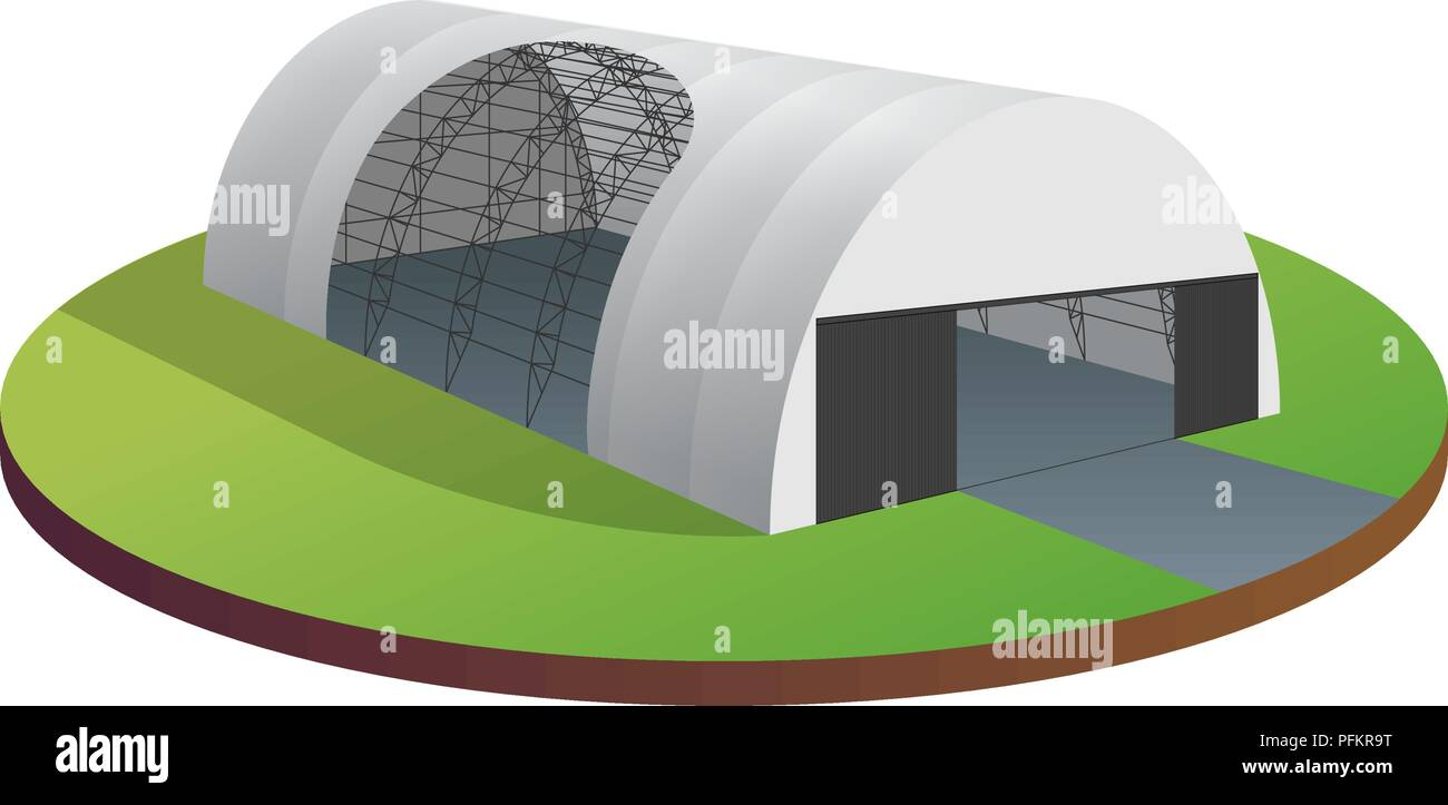 Awning tarpaulin tent temporary warehouse exhibition tunnel hall aircraft hangar. Barn construction building wireframe. Clear cut frame. Vector isomet - Stock Vector