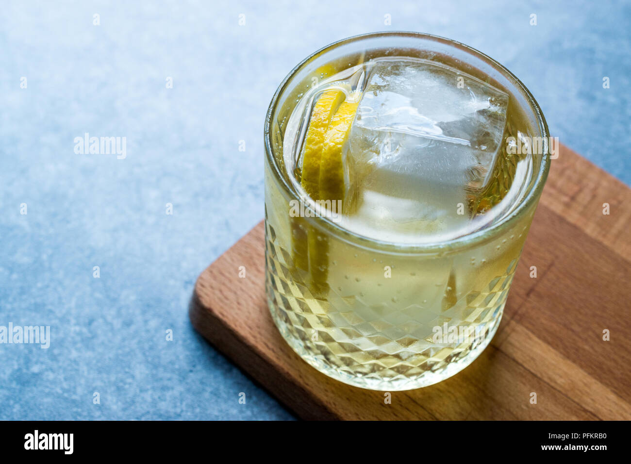 Irish Ale Cocktail with Ginger Beer, Lemon and Ice. Alcoholic Beverage. - Stock Image