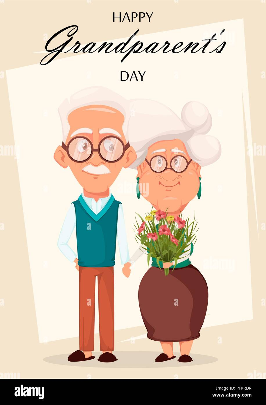Grandparents Day Greeting Card Grandmother And Grandfather Together