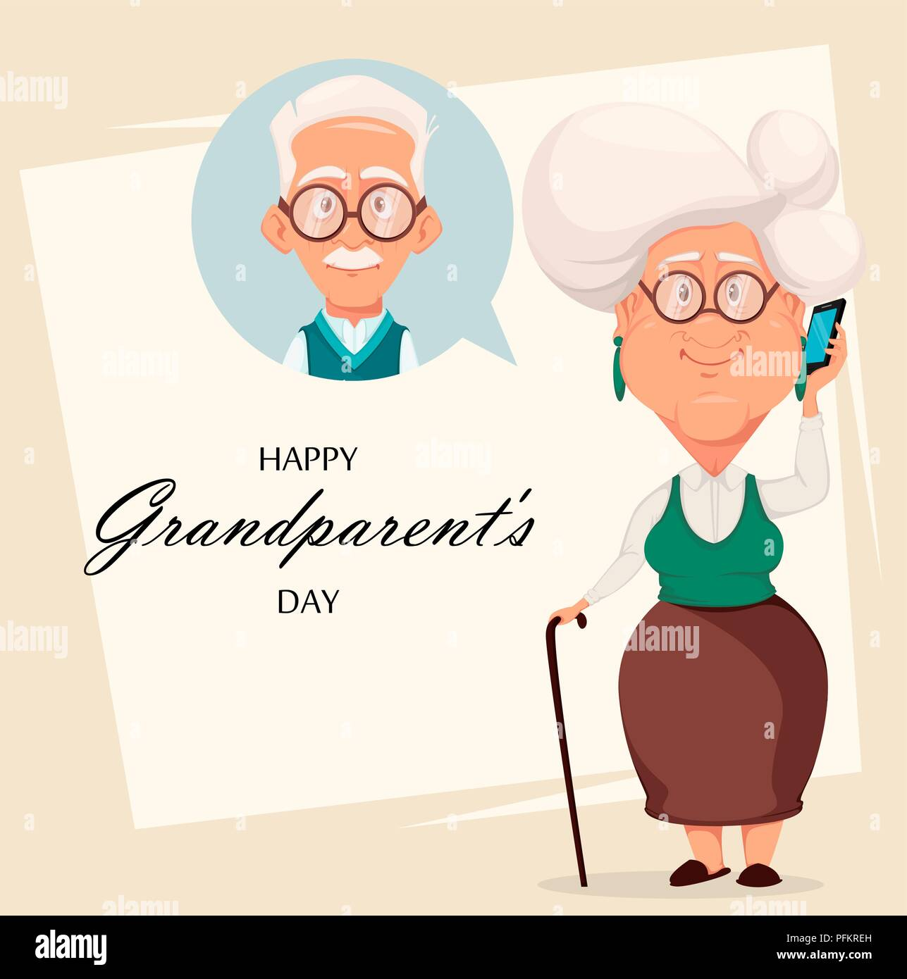Grandparents Day Greeting Card Grandmother Calling To Grandfather
