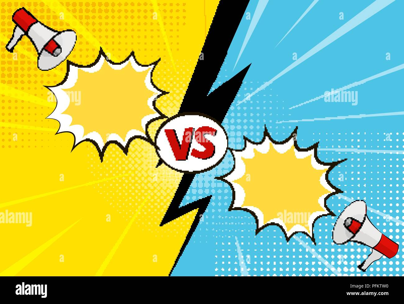 Versus letters figh background in pop art style - Stock Vector