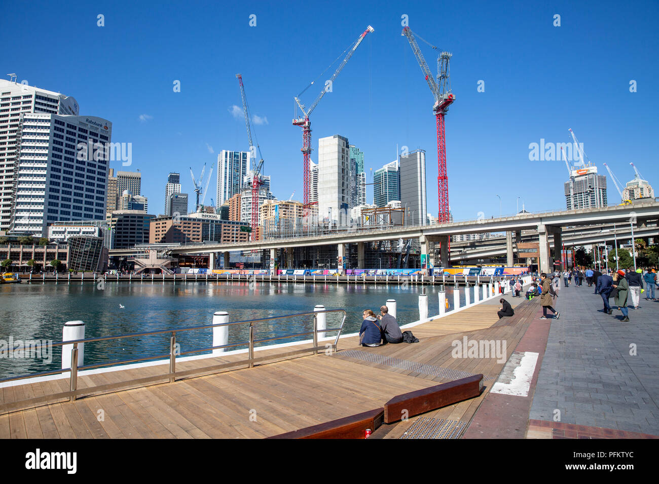 Darling harbour in Sydney city centre along with construction development underway,Sydney,Australia - Stock Image