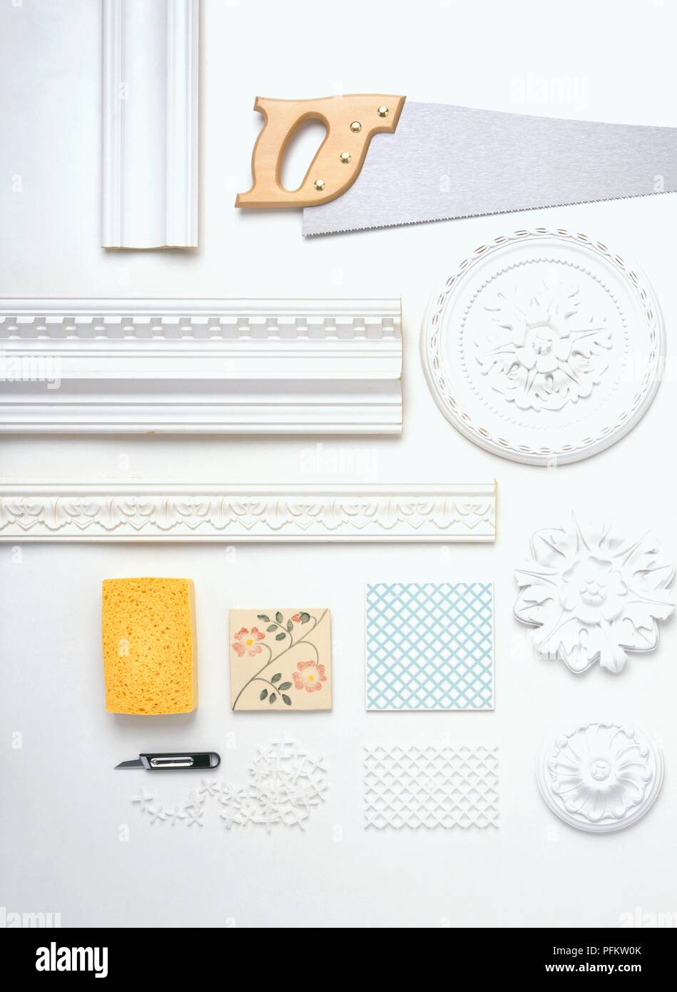 Decorative Plaster Mouldings Ceramic Tile And Tools Stock Photo